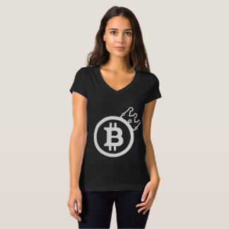 CAMISETA O T-SHIRT DAS MULHERES DE BITCOIN - CRYPTOCURRENCY