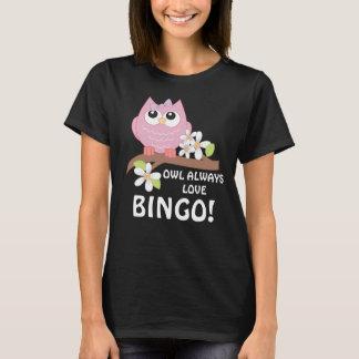 Camiseta O t-shirt das mulheres de jogo da coruja do Bingo