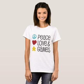 Camiseta O t-shirt das mulheres do amor & dos jogos da paz