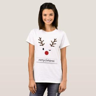 Camiseta O t-shirt das mulheres do piscar os olhos da rena