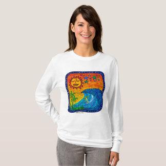 Camiseta O t-shirt das mulheres longas da luva