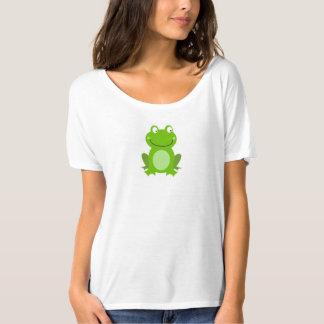 Camiseta O t-shirt das mulheres: Pouco design do sapo verde