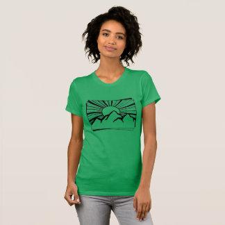 Camiseta O t-shirt das mulheres verdes do logotipo da
