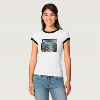 Camiseta O t-shirt das senhoras com impressão do verso da
