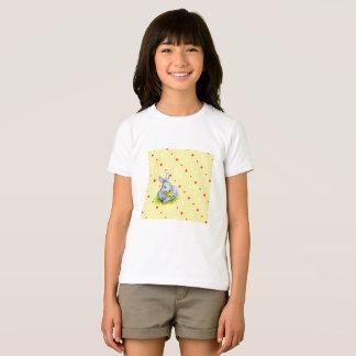 Camiseta O t-shirt de menina de coelho do vintage