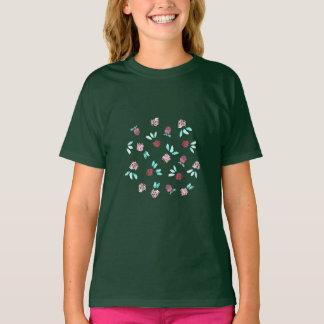 Camiseta O t-shirt de meninas de flores do trevo