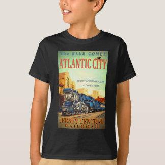 Camiseta O t-shirt do miúdo azul do trem do cometa