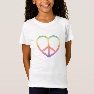 Camiseta O t-shirt do miúdo da paz e do amor do arco-íris