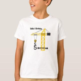 Camiseta O t-shirt do miúdo do guindaste de construção
