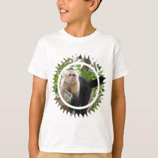 Camiseta O t-shirt do miúdo enfrentado branco do macaco de