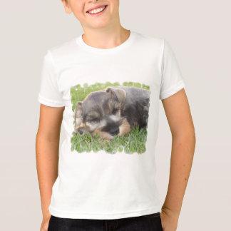 Camiseta O t-shirt do miúdo Snoozing do Schnauzer