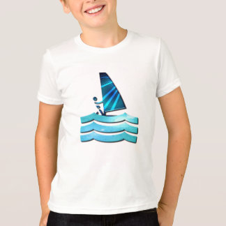 Camiseta O t-shirt do miúdo Windsurfing do design