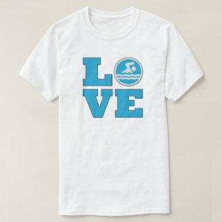 Camiseta O t-shirt dos homens do amor da natação para