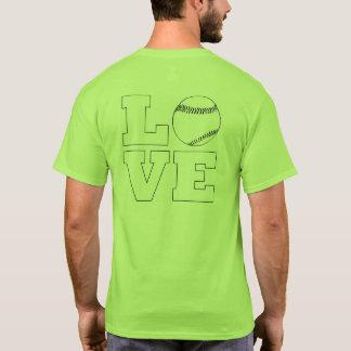 Camiseta O t-shirt dos homens do basebol/softball do amor