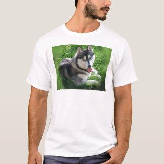 Camiseta O t-shirt dos homens do cão do rouco Siberian