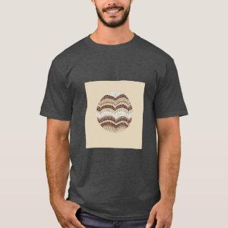 Camiseta O t-shirt escuro básico dos homens bege redondos