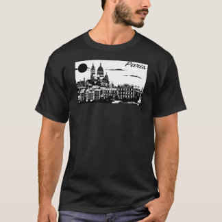 Camiseta O t-shirt escuro básico dos homens de Paris
