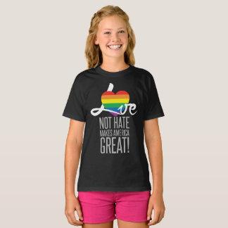 Camiseta O t-shirt escuro da menina do ódio do amor não