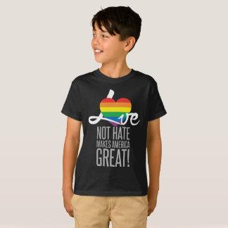 Camiseta O t-shirt escuro do menino do ódio do amor não