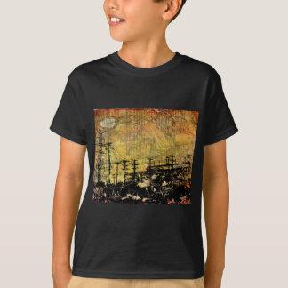 Camiseta O t-shirt escuro do miúdo elétrico da arquitectura