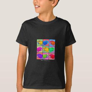 Camiseta O t-shirt escuro do miúdo inchado branco do pop