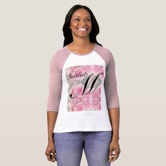 Camiseta O t-shirt inicial Sleeved longo das mulheres