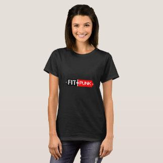 Camiseta O t-shirt preto das mulheres aptas do punk