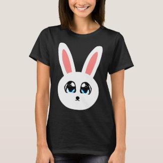 Camiseta O t-shirt preto das mulheres bonitos do coelho