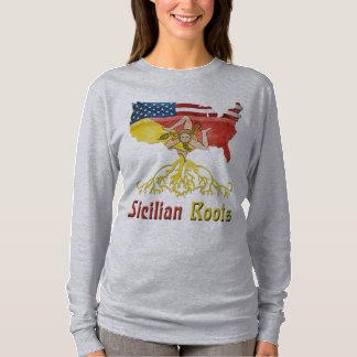 Camiseta O t-shirt siciliano das mulheres americanas das