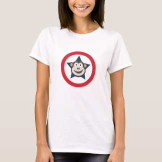Camiseta O T super das mulheres gráficas do macaco