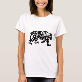 Camiseta O tatuagem do urso projeta o branco preto