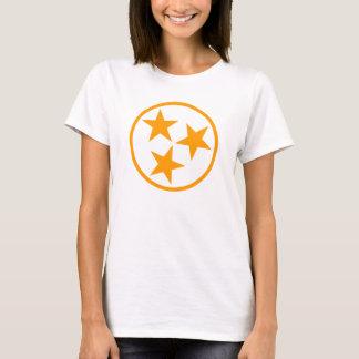 Camiseta O TN Stars a laranja no branco