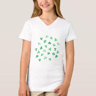 Camiseta O trevo sae do t-shirt do V-Pescoço das meninas