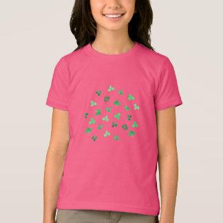Camiseta O trevo sae do t-shirt fino do jérsei das meninas