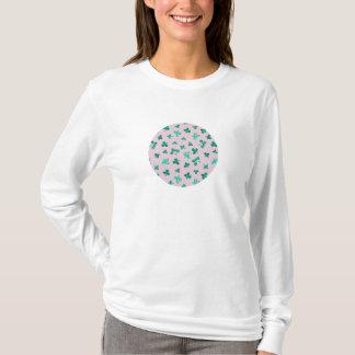 Camiseta O trevo sae do t-shirt longo básico da luva das