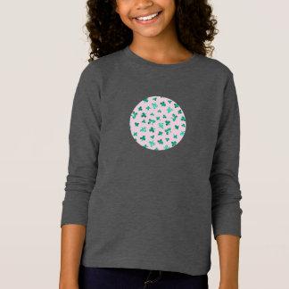 Camiseta O trevo sae do t-shirt longo da luva das meninas