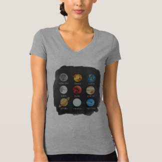 Camiseta O TShirt das mulheres da aguarela do sistema solar