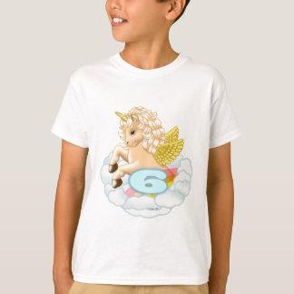 Camiseta O unicórnio do aniversário da criança de 6 anos