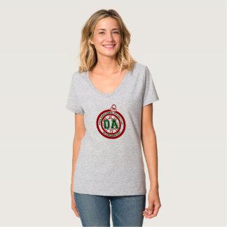 Camiseta O V cinzento das mulheres do T do copo do feriado