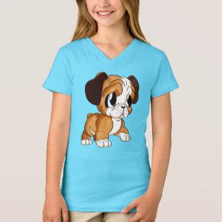 Camiseta O V-Pescoço azul da menina bonito da arte do