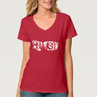 Camiseta O V-Pescoço cristão das mulheres Parte-Salvar no