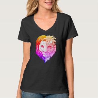 Camiseta O V-pescoço místico mão original das mulheres
