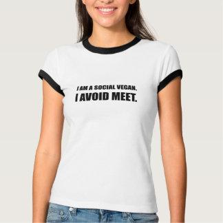 Camiseta O Vegan social evita a reunião