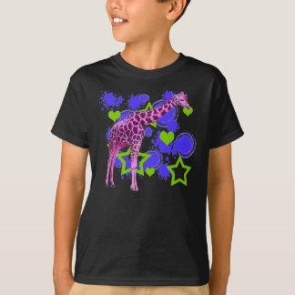 Camiseta O verde azul do girafa cor-de-rosa Stars corações