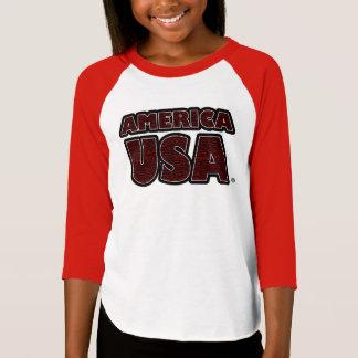 Camiseta O vermelho de América EUA rotula o t-shirt