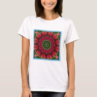 Camiseta O vermelho floresce natureza, Flor-Mandala