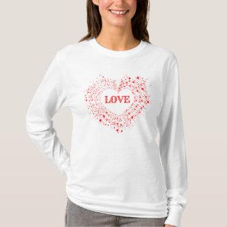 Camiseta O vermelho Sparkles amor do texto do coração dos
