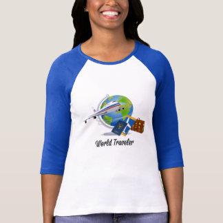 Camiseta O viajante de mundo, embalado e apronta-se para ir