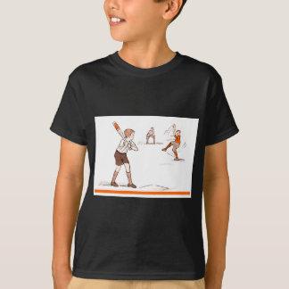 Camiseta O vintage caçoa o jogo de basebol dos meninos