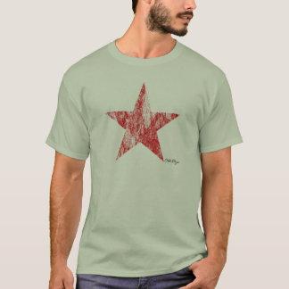 Camiseta O vintage vermelho da estrela do piloto do café